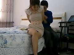 Asian girl bondage tied up and gagged with stockings