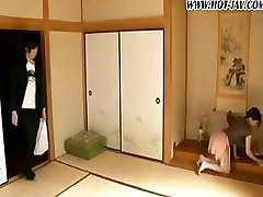 Japanese girl takes care of her visitor by being the food table