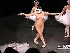 Subtitled Asian CMNF ballerina recital disrobes naked