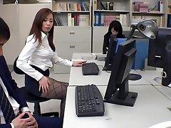 Exotic Japanese model Remi Sasaki, Ren Ayase, Miyuki Ojima, Hikaru Shiina in Greatest secretary, couple JAV clamp