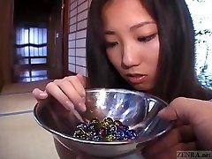 Subtitled Asian CMNF schoolgirl twenty marbles insertion