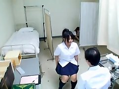 Cute Jap teenie has her medical exam and gets uncovered