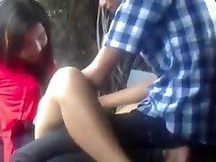 Myanmar Couple Making Enjoy in Park