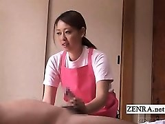Subtitled CFNM Chinese caregiver elderly man handjob