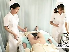 Subtitles CFNM 2 Japanese nurses hand job with cumshot