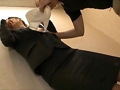 hesitant office lady being eat