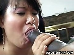 Ebony dude has a hot Chinese chick to ravage
