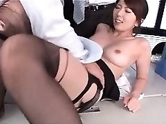 Jap hot college educator boob sucked and cunt tickled at work