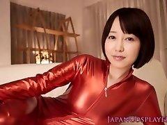 Cosplay catsuit Asuna Langley cum drinking