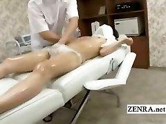Textade blyg Japansk skolflicka första erotisk massage