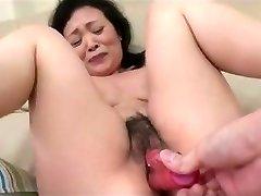 55yr elder Granny Kayoe Ozawa Splatters and Creamed (Uncensored)