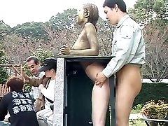 Costume Play Porn: Public Painted Statue Pulverize part 4