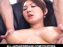 Busty Asian chick feels antsy to fuck
