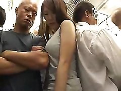 Astonishing Asian damsel with hairy pussy gets fucked in the train