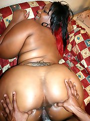 Hot ebony plumper Crystal Clear sucks off a huge cock after she flaunts her big ass