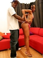 Ebony teen slut drops her sexy pink outfit for a black dick banging