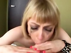 Busty blonde an sloppy jaws face fuck swallow