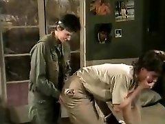 Jamie Summers, Kim Angeli, Tom Byron in old-school bang-out scene