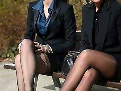 2 young sexy secretaries in antique stockings & garterbelt