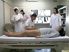 Naughty Asian nurses take turns riding patient