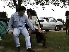 Vintage clip of Honies liking flashing public sex