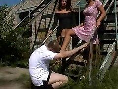 Naughty supersluts and a sissy guy having femdom fun