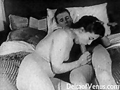 Authentic Vintage Porno 1950s - Shaven Pussy, Voyeur Fuck