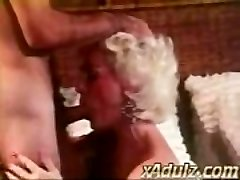 Retro Grey Haired Grandmother Gives Sensual Blow and Tit Job