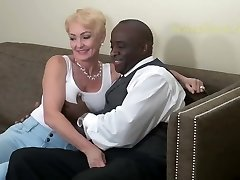 Blonde Nymphomaniac Fucks Black Fellow Hard. Classic