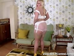 Busty blonde Anna Joy strips in vintage white panties nylons high-heeled shoes to jack