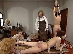 Retro clamp with Czech gals getting whipped