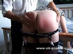 Blonde babe in lingerie spanked and paddled on her big sexy ass - blistered buttocks