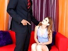 A sexy white girl chokes on this massive black pecker