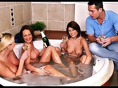 3 amazing hot ass big tits euro babes share 1 cock in these hot fucking jacuzzi hard fucking 4...