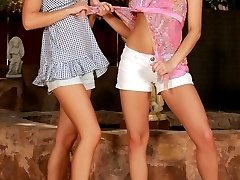 Luscious lesbians strip and lick