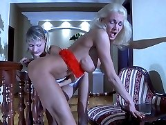 Caught with a dildo mom gets prepared for some lez fun with a curious lass