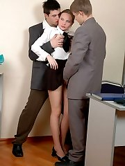 The office is the best place for mind-blowing pantyhose fucking in gangbang