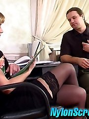 Long-haired gal taking advantage of hard fucking with her lacy stockings on