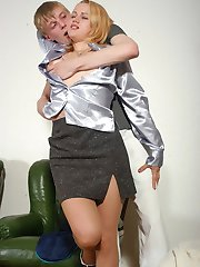 Pantyhosed female hairdresser sliding her hand into pants of horny client