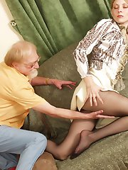 Old freak peeping under the skirt of a sexy babe in smooth black pantyhose