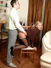 Unabashed secretary in barely black pantyhose getting plowed in doggystyle