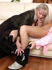 Chubby mature business female in sheer-to-midbody hosepipe getting banged on sofa