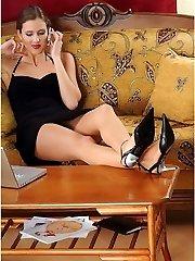Leggy brunette in stockings