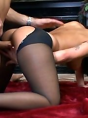 Jenaveve having uproarious sex in ripped opaque nylons and high-heeled shoes