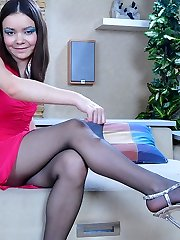 Horny flasher spreads cootchie lips thru the opening in hardly black tights