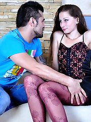 Leggy hottie gets her colored patterned pantyhose creamed after moist dicking
