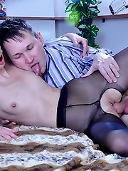 Slim-legged hottie in black downright-fashioned pantyhose straddling her insatiable guy