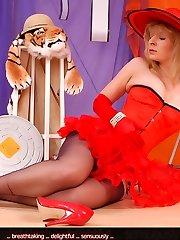 Angel as glamour girl in red lingerie