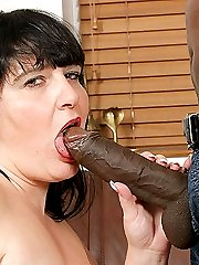Lovely young brunette fattie gets fat black cock from her first client at work
