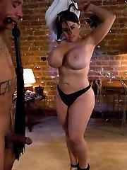 Daphne predominates and teases slave fellow Lobo
